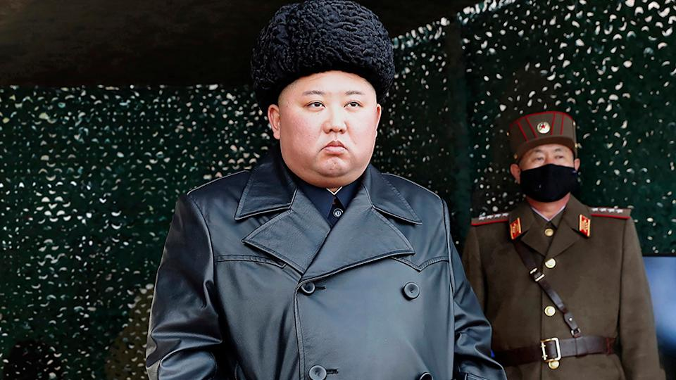North Korean leader Kim Jong Un inspects a military drill at undisclosed location in North Korea in late March
