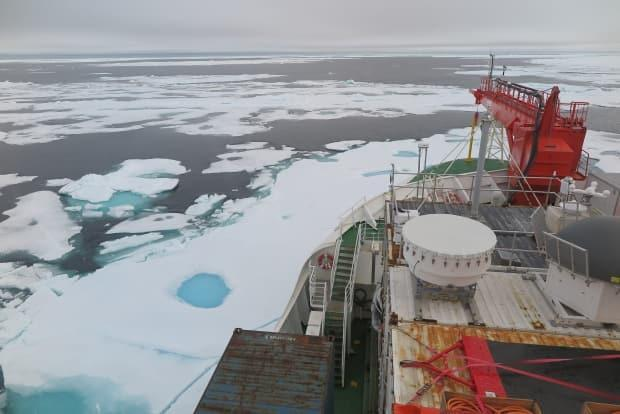 Sea ice on the Wandel Sea north of Greenland as seen on Aug.16, 2020, from the German icebreaker Polarstern. This area used to remain fully covered in ice throughout the year. ( Felix Linhardt/Kiel University - image credit)