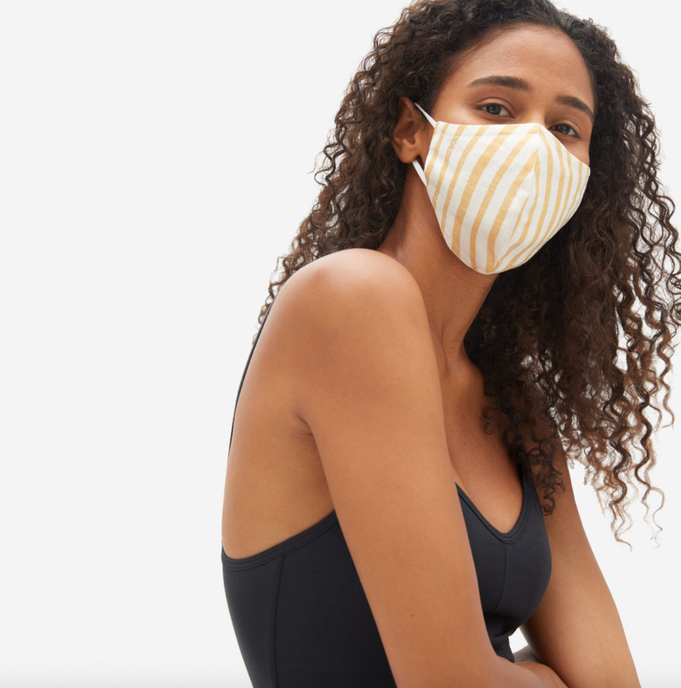 '100% Human' Face Mask in Yellow & White Stripe (Photo via Everlane)
