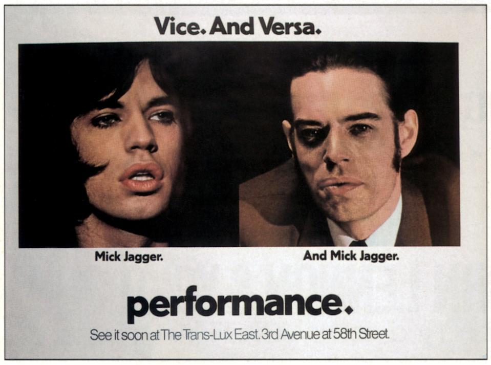 Performance, poster, left and right: Mick Jagger, 1970. (Photo by LMPC via Getty Images)