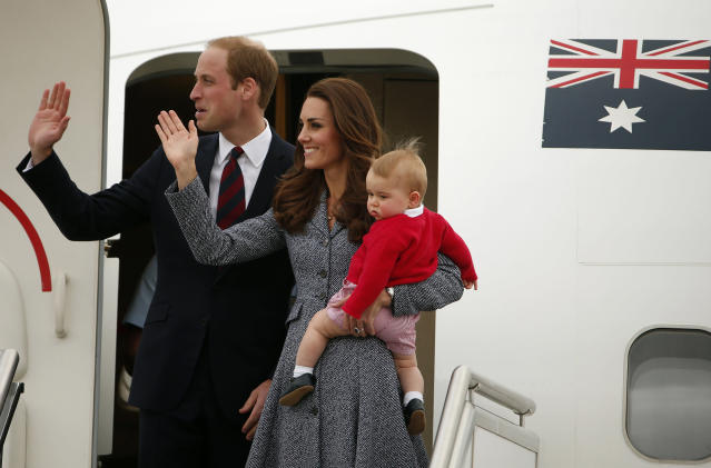 Kate and William in Australia in 2014, on tour with George. (Reuters)