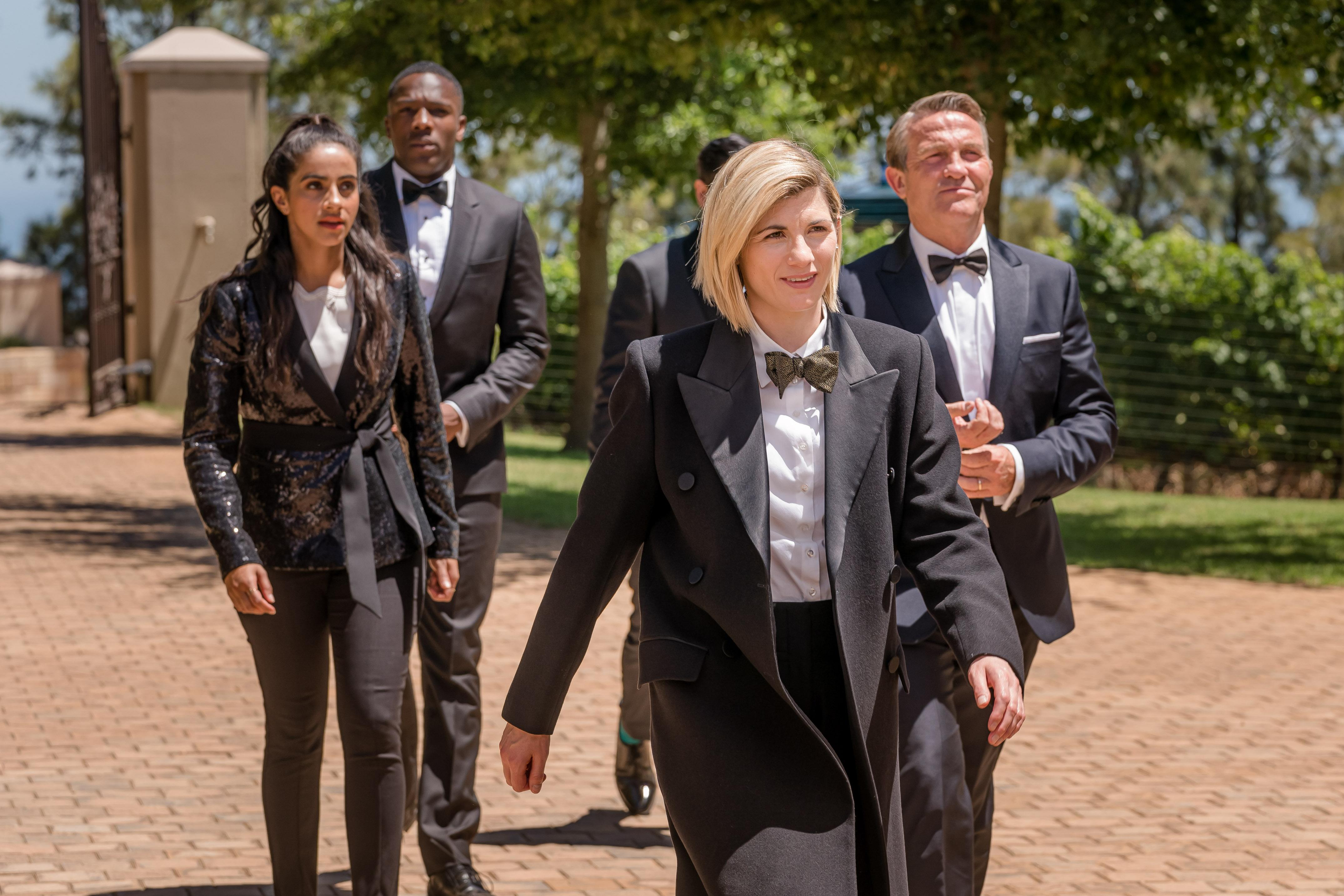 Yaz (MANDIP GILL), Ryan (TOSIN COLE), The Doctor (JODIE WHITTAKER), Graham (BRADLEY WALSH) (BBC / BBC Studios)