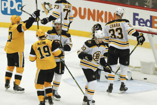 Penguins rally from down three goals in first to defeat Bruins