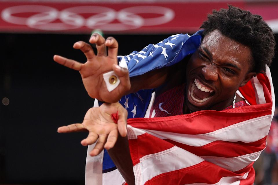 Noah Lyles of Team United States celebrates after winning the bronze medal in the Men's 200m Final on day twelve of the Tokyo 2020 Olympic Games at Olympic Stadium on August 4, 2021 in Tokyo, Japan.  (Getty Images)