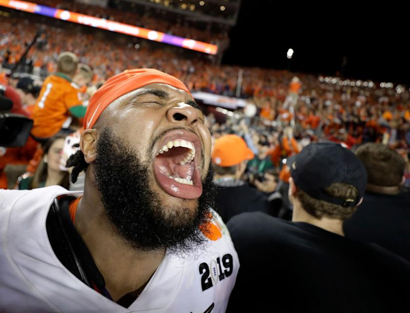 Clemson's Christian Wilkins celebrates after the NCAA college football playoff championship game against Alabama (AP Photo)