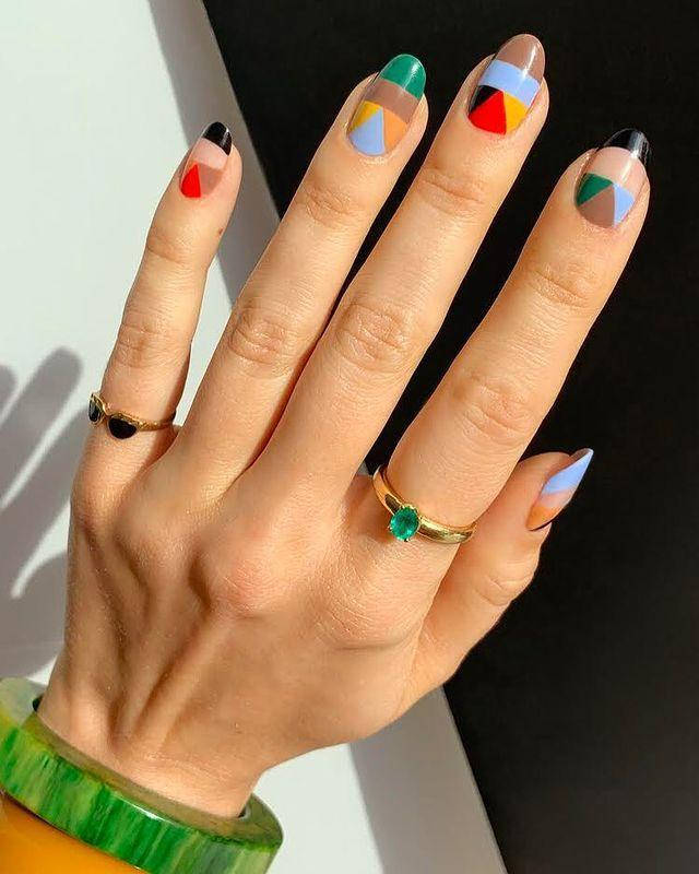 "<p>Use up the dregs of all your favourite nail shades with this multi-coloured geometric print.</p><p><a href=""https://www.instagram.com/p/B8y_vQ6HvAs/?utm_source=ig_embed&utm_campaign=loading"" rel=""nofollow noopener"" target=""_blank"" data-ylk=""slk:See the original post on Instagram"" class=""link rapid-noclick-resp"">See the original post on Instagram</a></p>"