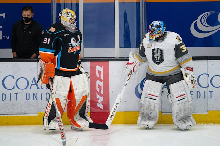 Fred Brathwaite, the 48-year-old goaltending coach for the AHL's Henderson Silver Knights, was called up to serve as a backup goalie on an emergency basis. (Henderson Silver Knights)