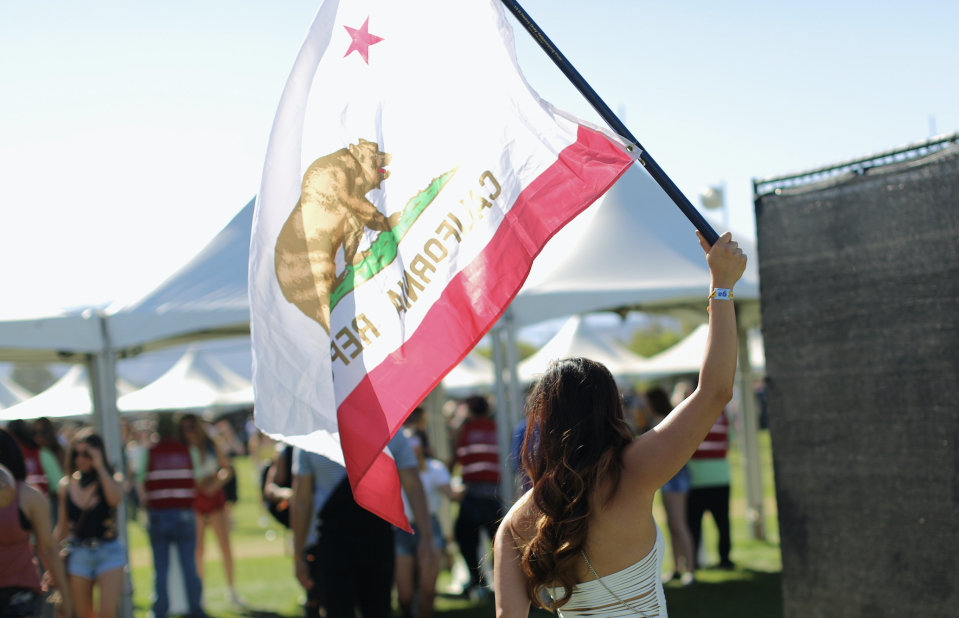 A California state flag at the Coachella Valley Music And Arts Festival on April 14, 2017 in Indio, California. (Photo: David McNew/Getty Images)