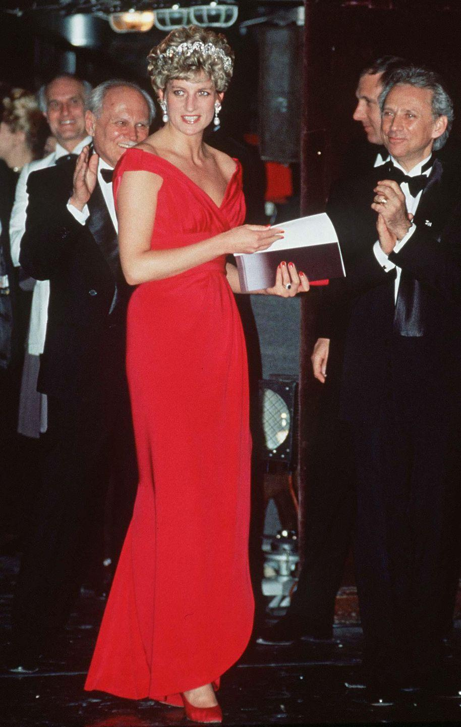<p>In 1992, Diana wore another Victor Edelstein design, this time a striking red gown. She wore the dress numerous times, and is seen here wearing it with the Spencer tiara in Budapest, Hungary.</p>