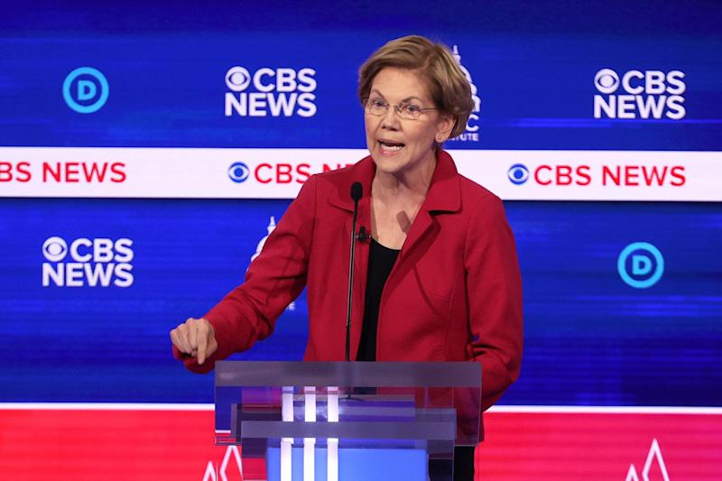Sen. Elizabeth Warren (D-Mass.) criticized Democratic presidential rival Mike Bloomberg on Tuesday over nondisclosure agreements women at his company signed. (Photo: Win McNamee via Getty Images)