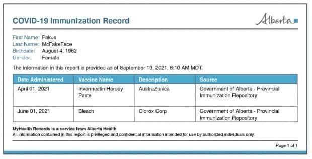 Some users discovered that Alberta's printable immunization record can easily be edited, which prompted concerns that one can create a fake version. (Dan Shugar - image credit)