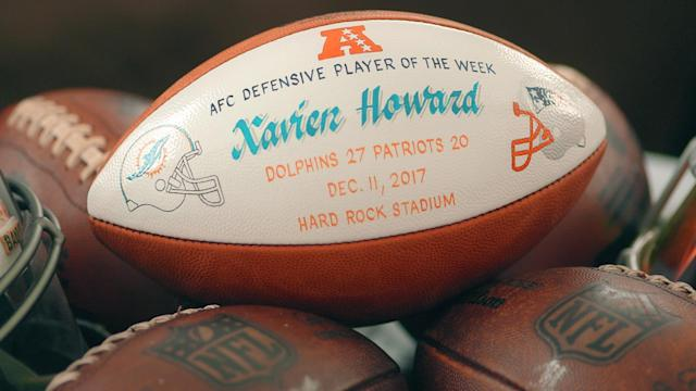 Xavien Howard's keepsake for snagging two interceptions against Tom Brady and the Patriots last season. (Special to Yahoo Sports)