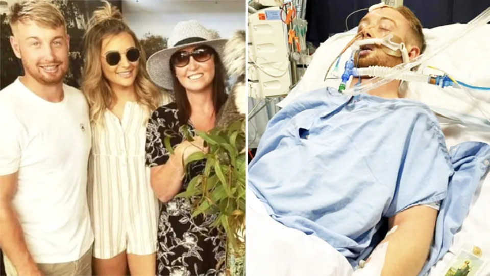 Pictured here, Danny Hodgson with family on the left and in a coma on the right after a Perth assault.