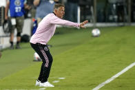 Inter Miami coach Phil Neville watches during the first half of the team's MLS soccer match against Montreal, Wednesday, May 12, 2021, in Fort Lauderdale, Fla. (AP Photo/Lynne Sladky)