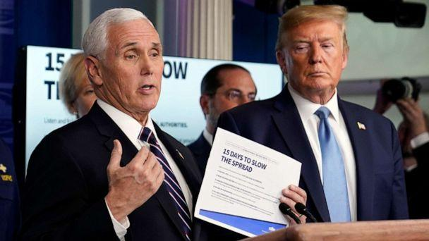 PHOTO: Vice President Mike Pence speaks as President Donald Trump listens during a press briefing with the coronavirus task force, in the Brady press briefing room at the White House, March 16, 2020, in Washington. (Evan Vucci/AP)