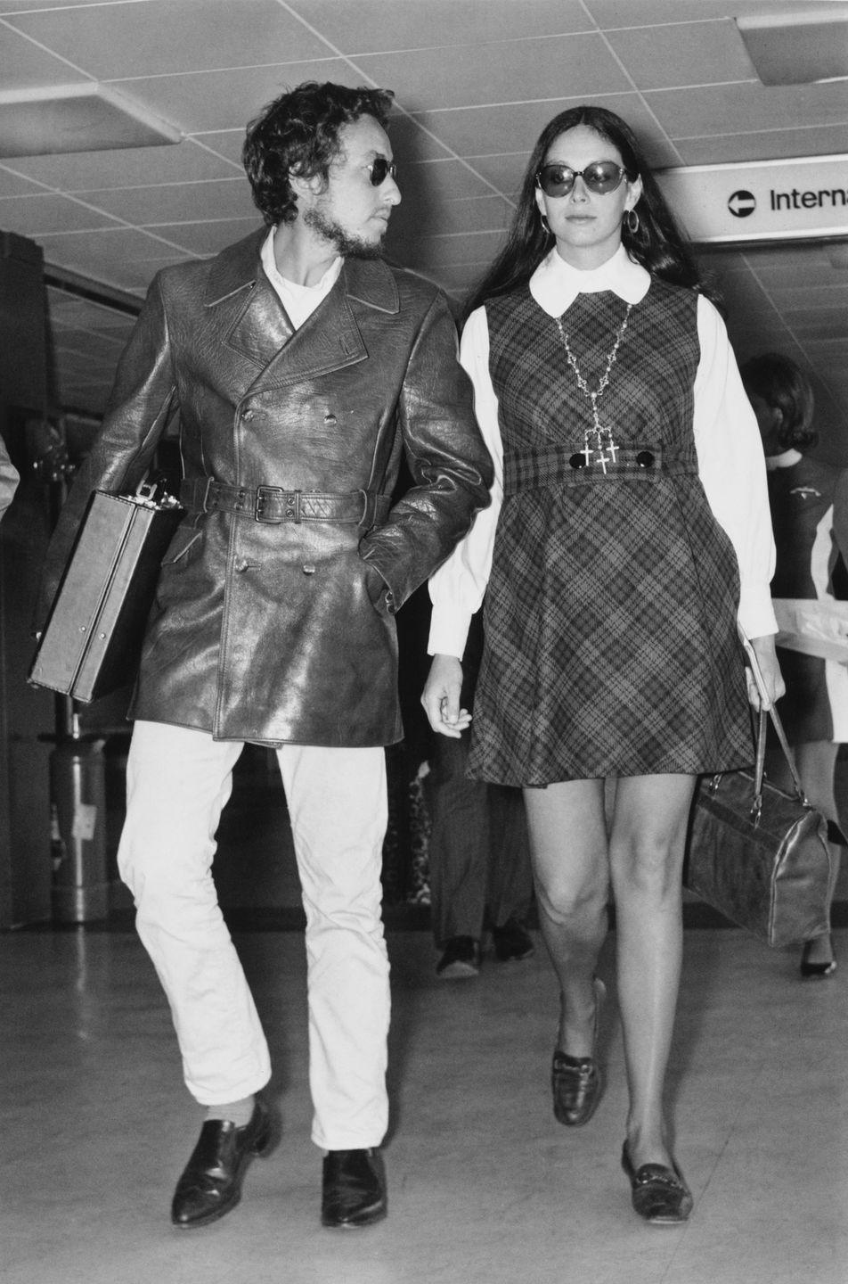 <p>Bob Dylan with his then-wife, Sara Lownds, at Heathrow Airport, London, 1969.</p>