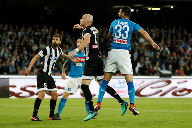Soccer Football - Serie A - Napoli vs Udinese Calcio - Stadio San Paolo, Naples, Italy - April 18, 2018 Napoli's Raul Albiol scores their second goal REUTERS/Ciro De Luca