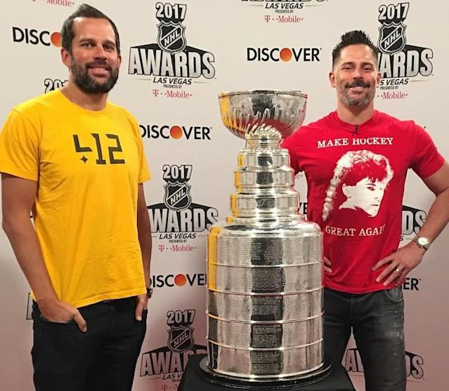 "<p>Actor (and die-hard fan of the Pittsburgh Penguins) was proud to stand with the Stanley Cup that his team won as he got ready to host the 2017 NHL Awards in Las Vegas. ""<a href=""https://www.instagram.com/p/BVnPLJnDnHH/?taken-by=joemanganiello"" rel=""nofollow noopener"" target=""_blank"" data-ylk=""slk:The cup is here"" class=""link rapid-noclick-resp"">The cup is here</a>!"" he gushed. (Photo: Joe Manganiello via Instagram) </p>"
