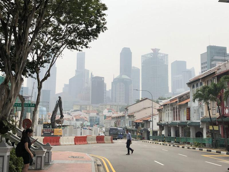 View of Singapore's hazy skyline from Neil Road.
