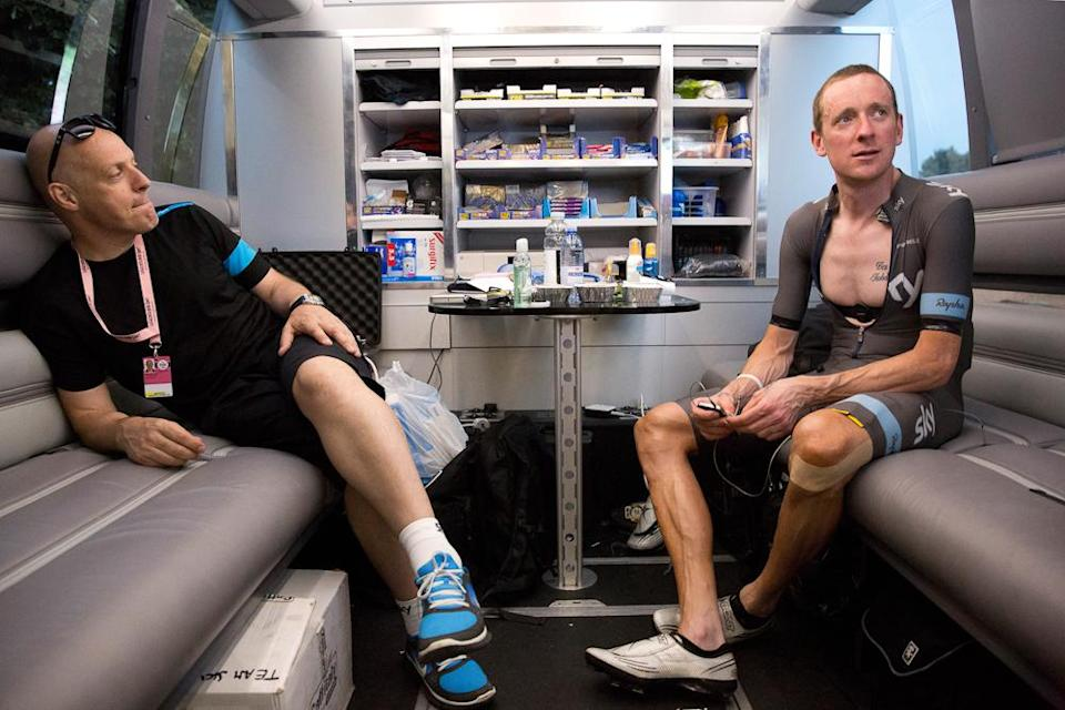 Team Sky's Dave Brailsford and Bradley Wiggins in the team bus at the 2013 Giro d'Italia