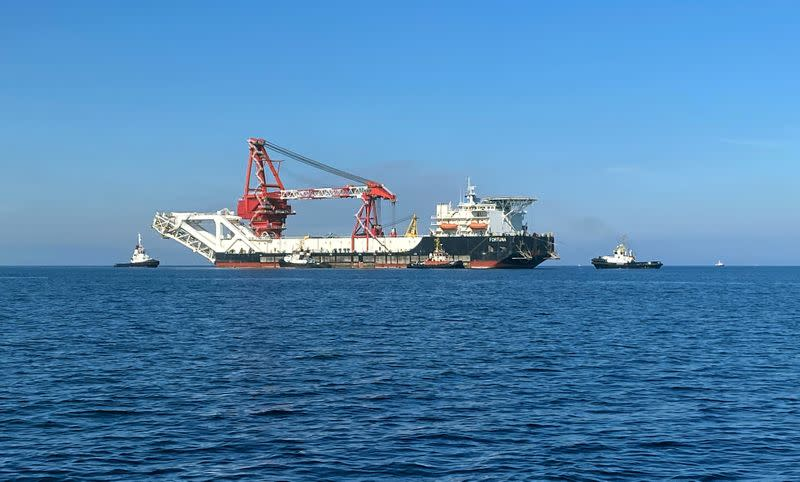 FILE PHOTO: The pipe-laying vessel Fortuna makes its way to Wismar