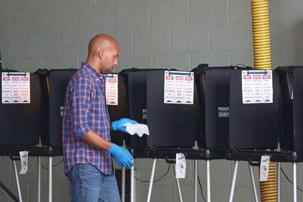 PHOTO: A poll worker uses sanitizer wipes to wipe down the voting machines during the Florida presidential primary as the coronavirus pandemic continues, March 17, 2020 in Miami Beach, Fla. (Joe Raedle/Getty Images)