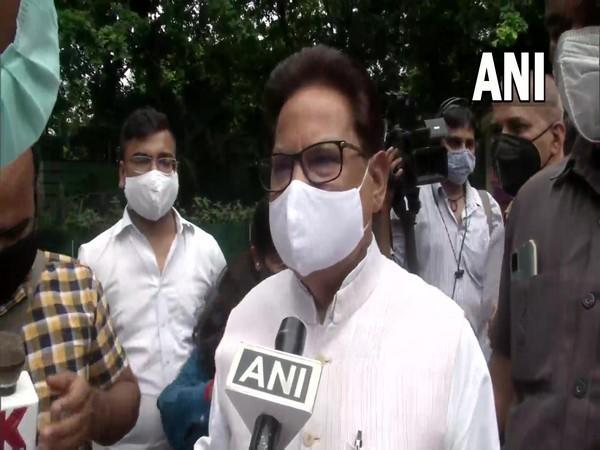 PL Punia outside the residence of Rahul Gandhi in New Delhi (Photo/ANI)