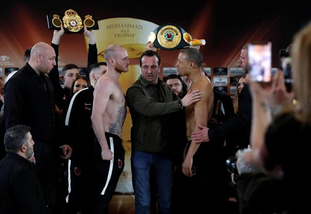 Boxing - George Groves & Chris Eubank Jr Weigh-In - Hilton Deansgate, Manchester, Britain - February 16, 2018 George Groves and Chris Eubank Jr during the weigh in Action Images via Reuters/Lee Smith