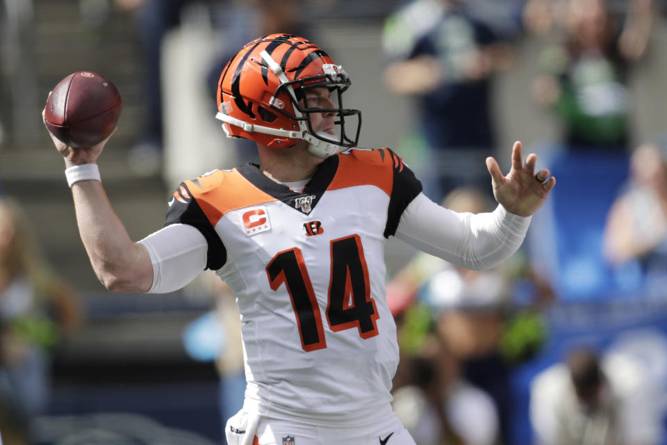 Cincinnati Bengals quarterback Andy Dalton passes against the Seattle Seahawks during the first half of an NFL football game, Sunday, Sept. 8, 2019, in Seattle. (AP Photo/Stephen Brashear)