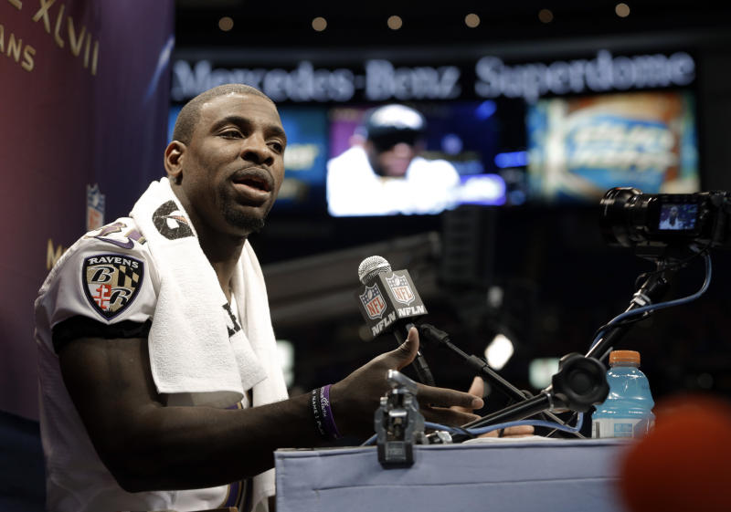 Baltimore Ravens safety Bernard Pollard speaks during media day for the NFL Super Bowl XLVII football game Tuesday, Jan. 29, 2013, in New Orleans. (AP Photo/Mark Humphrey)