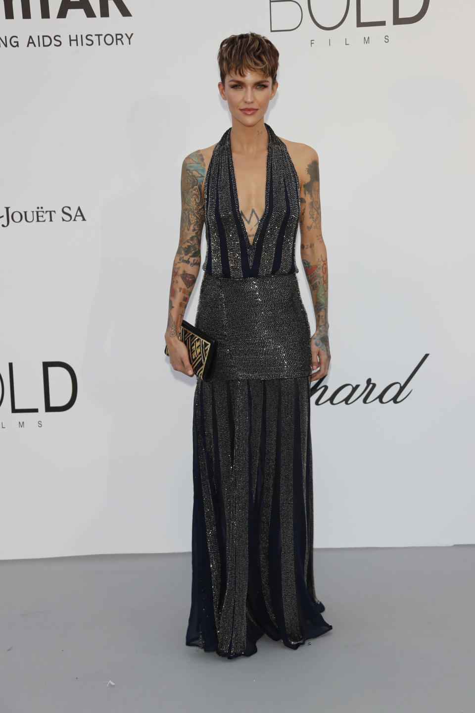 <p>Ruby Rose chose a pleated halterneck dress for the annual gala. [Photo: Getty] </p>