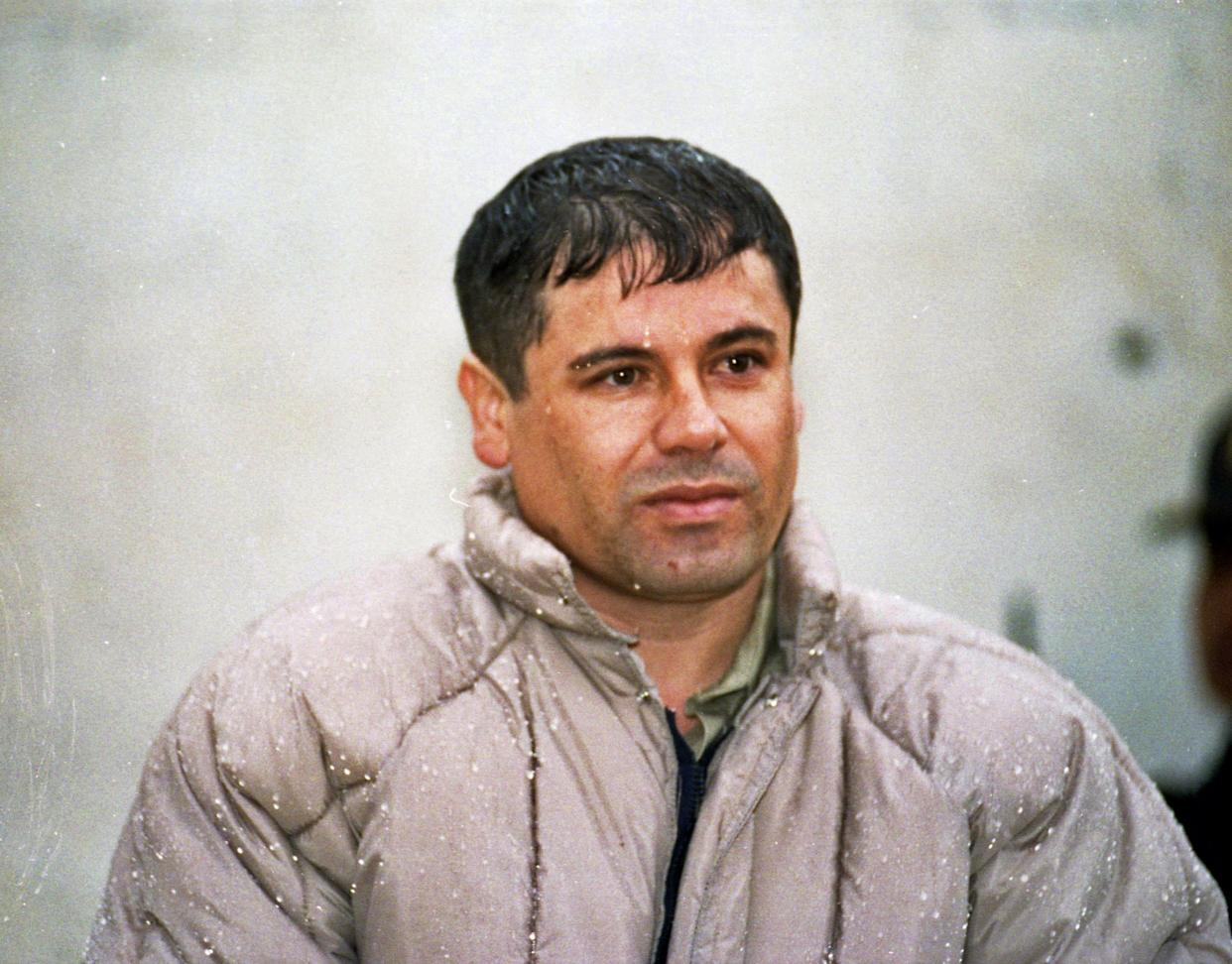 "In this June 10, 1993 file photo, Joaquin Guzman Loera, alias ""El Chapo Guzman"" is shown to the press after his arrest at the high security prison of Almoloya de Juarez, outskirts of Mexico City. (AP Photo/Damian Dovarganes, file)"