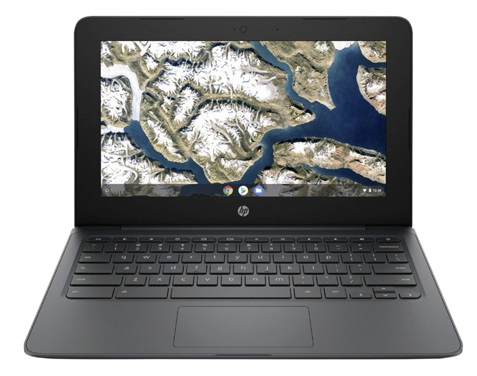hp chromebook with black body and keyboard and earth on screen