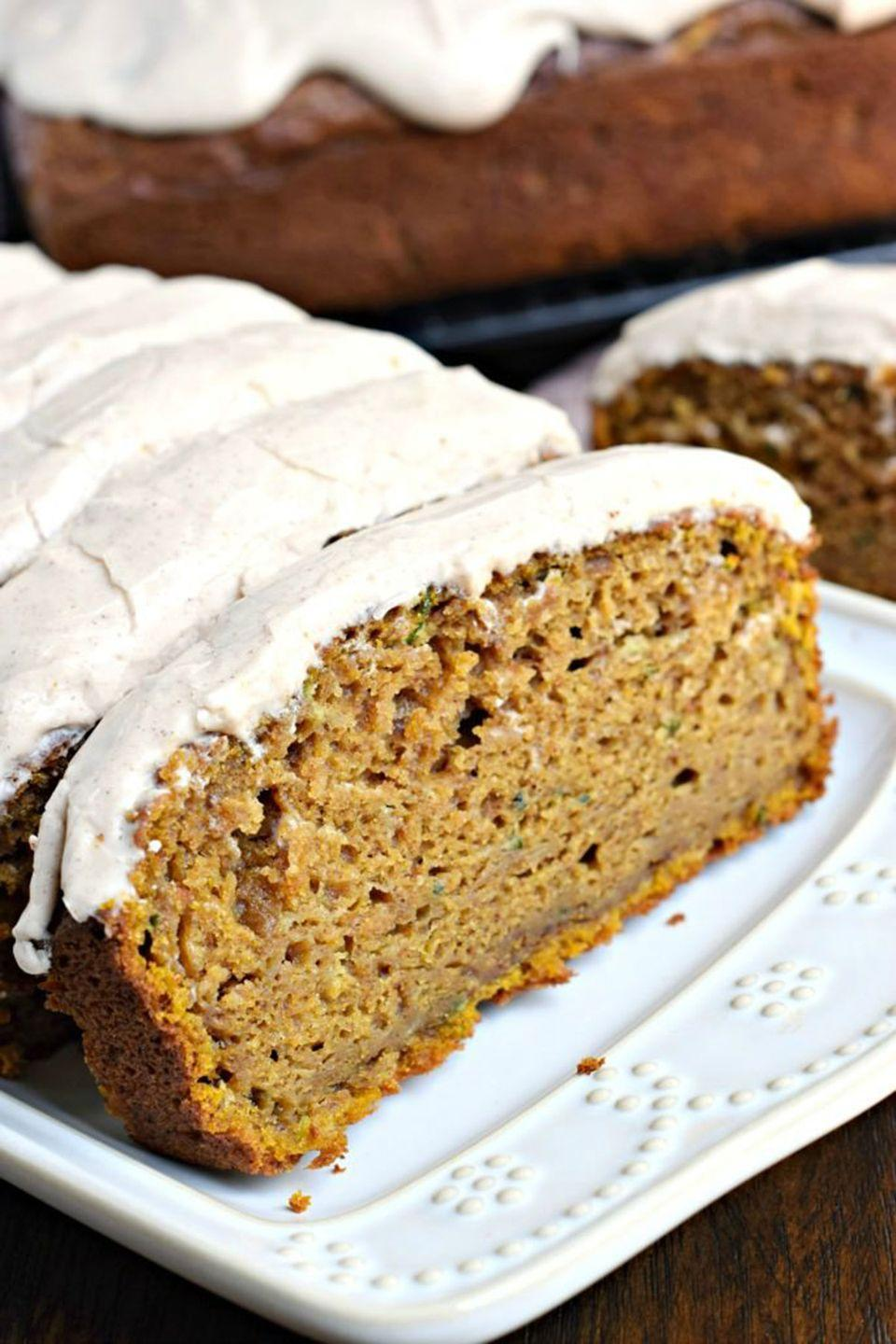 """<p>After one bite of this deliciously moist pumpkin bread, you'll never guess that the secret ingredient was actually a vegetable.</p><p><strong>Get the recipe at <a href=""""http://www.shugarysweets.com/2016/09/pumpkin-zucchini-bread"""" rel=""""nofollow noopener"""" target=""""_blank"""" data-ylk=""""slk:Shugary Sweets"""" class=""""link rapid-noclick-resp"""">Shugary Sweets</a>. </strong></p>"""