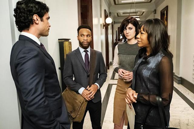 Danny Pino as Luke Healy, Johnny Ray Gill as Gustav Triplett, Mary Elizabeth Winstead as Laurel Healy, and Nikki M. James as Rochelle Daudier in 'BrainDead' (Credit: Jeff Neumann/CBS)