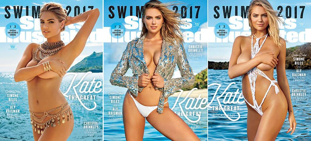 <p>Kate Upton graces the cover of <i>Sports Illustrated</i>'s 2017 Swimsuit Issue, thrice. The triple cover commemorates Upton's third time fronting the issue. But Twitter users were quick to point out that none of the Swimsuit Issue covers featured Upton in an actual swimsuit. Instead, she's donned rather impractical attire – jewelry, string and a shiny sequined moto jacket for some reason. </p>
