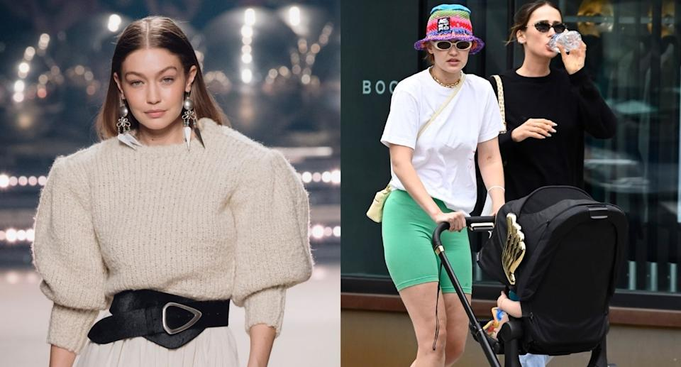 Gigi Hadid was spotted with her daughter, Khai, wearing bold bike shorts from Alo Yoga. (Images via Getty Images)