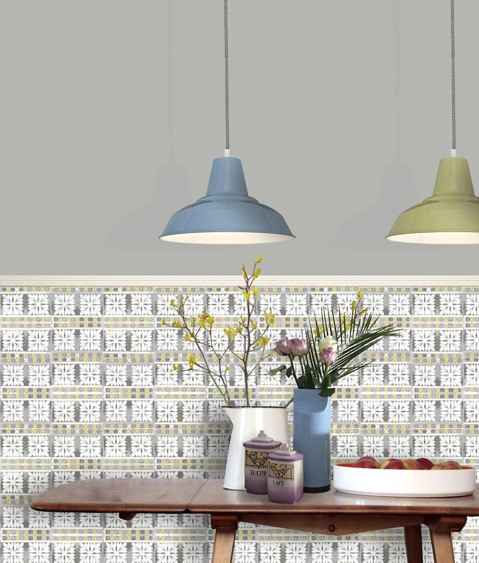 """<p>If bona fide Victorian tiles are out of reach, designer Louise Body's wallpapers create the illusion of period ceramic designs without the price tag (and the grout). Choose from a variety of tile designs and colours to match your scheme.</p><p><strong>Louise Body</strong> Flora Tile Wallpaper, £75 per 10 metre roll, available at <a href=""""https://www.louisebody.com/shop/Wallpaper/Peggy_Collection/Flora_Tile"""" rel=""""nofollow noopener"""" target=""""_blank"""" data-ylk=""""slk:Louise Body"""" class=""""link rapid-noclick-resp"""">Louise Body</a></p>"""