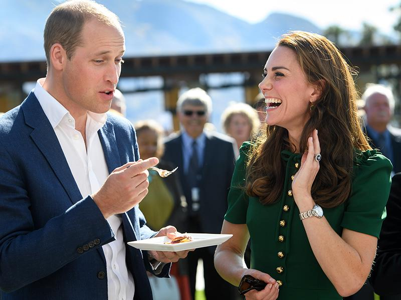 Will and Kate sample local cuisine.
