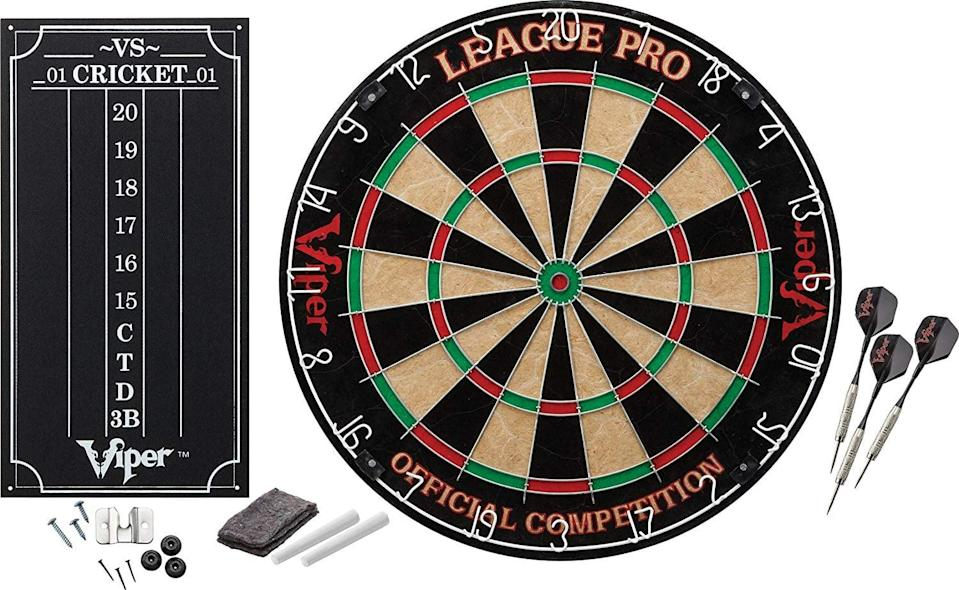 <p>He can hang this <span>Viper League Pro Regulation Bristle Dartboard Set </span> ($40, originally $50) in the garage.</p>