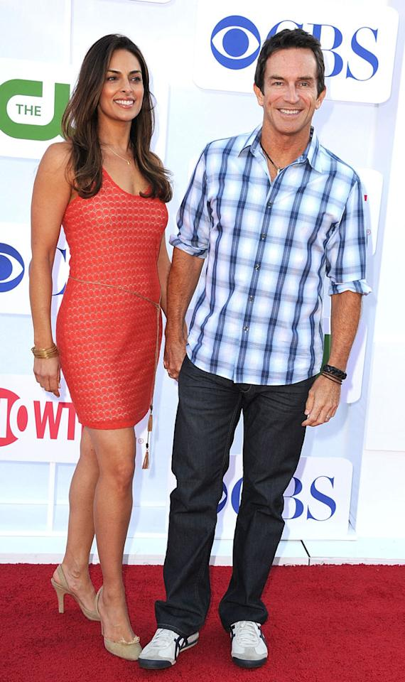 "Lisa Ann Russell (""The Jeff Probst Show"") and Jeff Probst (""Survivor,"" ""The Jeff Probst Show"") arrive at the CBS, Showtime, and The CW Summer 2012 Press Tour Party on July 29, 2012 in Beverly Hills, California."