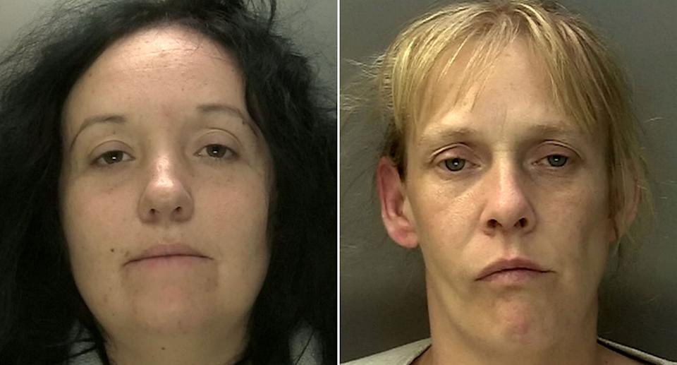 Lewis' partner Laura Lightwood (left), 34, and Michelle While, 39, admitted fraud and handling stolen goods. (SWNS)