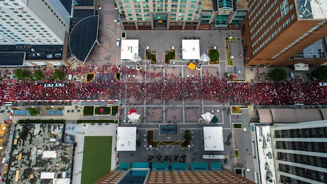 "<p>Thousands of teachers march on Fayetteville Street in Raleigh, N.C. on Wednesday, May 16, 2018 to the N.C. Legislative building during the ""March for Students and Rally for Respect,"" the largest act of organized teacher political action in state history. (Photo: Travis Long/TNS via ZUMA Wire) </p>"