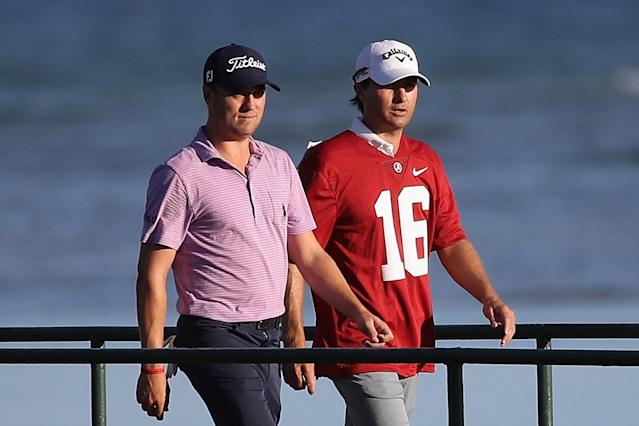 "<h1 class=""title"">Sony Open In Hawaii - Round One</h1> <div class=""caption""> <a class=""link rapid-noclick-resp"" href=""/pga/players/8615/"" data-ylk=""slk:Kevin Kisner"">Kevin Kisner</a> wears an <a class=""link rapid-noclick-resp"" href=""/ncaab/teams/aaf/"" data-ylk=""slk:Alabama Crimson Tide"">Alabama Crimson Tide</a> football jersey after losing a bet to <a class=""link rapid-noclick-resp"" href=""/pga/players/10701/"" data-ylk=""slk:Justin Thomas"">Justin Thomas</a> over the outcome of the 2018 College Football Playoff National Championship game. (Photo by Gregory Shamus/Getty Images) </div> <cite class=""credit"">Gregory Shamus</cite>"