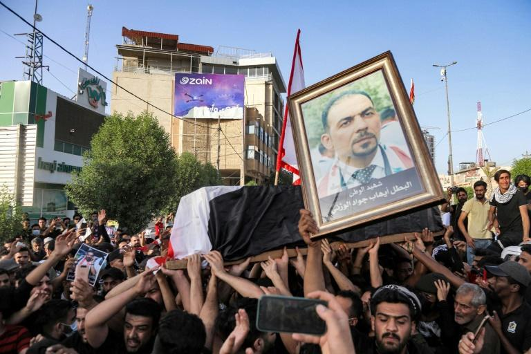 Wazni's funeral drew hundreds of mourners and sparked mounting calls to boycott Iraqi parliamentary elections set for October