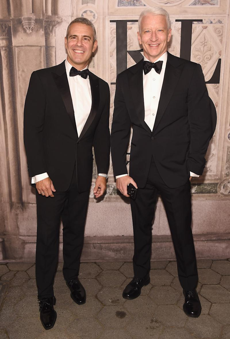 NEW YORK, NY - SEPTEMBER 07: Andy Cohen and Anderson Cooper attend the Ralph Lauren 50th Anniversary event during New York Fashion Week at Bethesda Terrace on September 7, 2018 in New York City. (Photo by Gary Gershoff/WireImage)