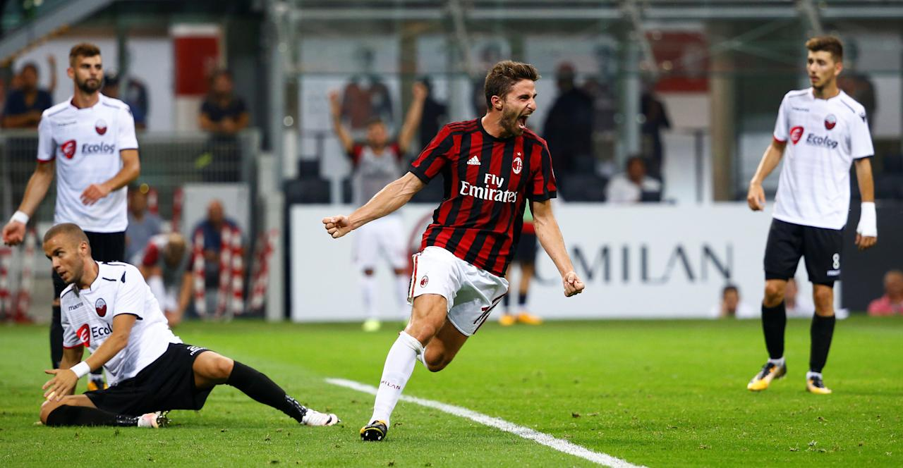 Soccer Football - Europa League - Playoffs - AC Milan vs KF Shkendija - Milan, Italy - August 17, 2017   AC Milan's Fabio Borini celebrates scoring their fourth goal    REUTERS/Stefano Rellandini     TPX IMAGES OF THE DAY