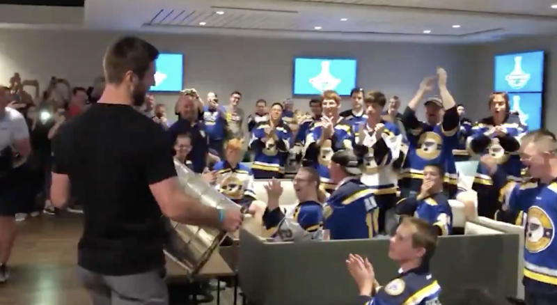 Alex Pietrangelo used part of his day with Lord Stanley's mug to give a very special opportunity to some of the most passionate supporters of the St. Louis Blues. (Twitter//@StLouisBlues)