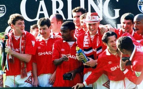 Paul Parker celebrates winning the Premiership with Man Utd in 1994 - Credit: getty images