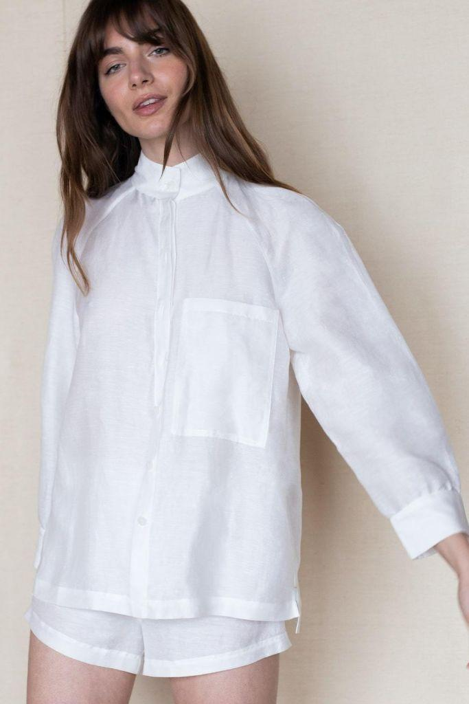 lunya shirt, lunya, lunya pajamas, sleeper shirt, daily sleeper, linen shirt, white linen shirt, spring 2021 trends, spring 2021, mfw, milan fashion week, milan fashion week trends